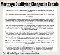 Mortgage Qualifying Changes taking effect Oct 17th