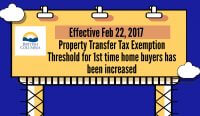 Changes to 1st Time Buyers Property Tax Exemption